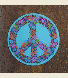TURQUOISE PEACE SIGN CAR mAGNet . . BIGGO oversized magnet!!! - Junk GYpSy co.