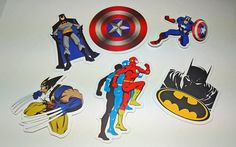 Lot Of 6 Super Hero Stickers  Crafts Scrapbooking by FrancisRoyal