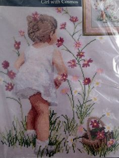 "Janlynn Girl With Cosmos Counted Cross Stitch Kit #29-18 12"" x 16"" Finished Size #Janlynn #Frame"