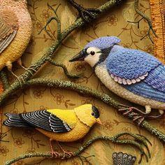 Grey Warbler sculptural embroidery textile bird art.