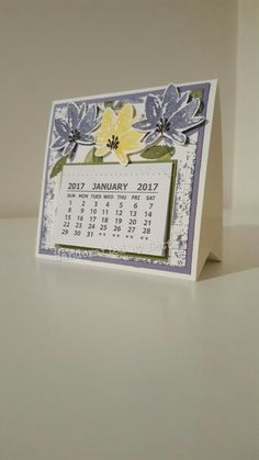 Mini desk calendar.Using the Advant Garden stampset from Stampin up. Made by Bernadette Maroun Handcrafted by Dette.