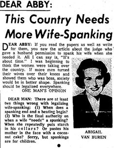 More Wife-Spanking! | 10 Weird And Wonderful Dear Abby Columns