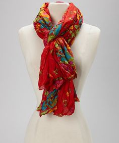 Take a look at this Red Floral Scarf by Blue Pacific Fashion on #zulily today!