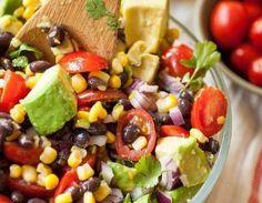 Summer Corn, Avocado & Black Bean Salad — Produce On Parade Recipe Veggie Recipes, Salad Recipes, Vegetarian Recipes, Cooking Recipes, Healthy Recipes, Veggie Meals, Sin Gluten, Cilantro, Black Bean Salad Recipe