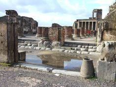 VIII.1.1 Pompeii. December 2005. Basilica entrance steps at north end, looking west from Forum.