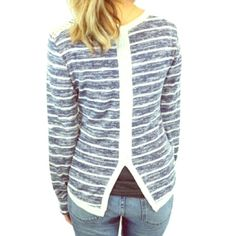 Sketch Striped French Terry Top How cute is this top?! Blue and white striped with lace shoulder detail. New and in packaging. Relished Sweaters Crew & Scoop Necks