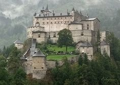 Burg Hohenwerfen Castle, Austria    Burg Hohenwerfen is a castle approximately 40 km south of the Austrian city of Salzburg. The castle is majestically surrounded by the Berchtesgaden Alps and the Tennengebirge mountain range.