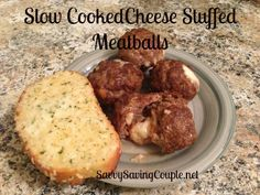 (I would just cut up string cheese!) Cheese Stuffed Meatballs!! Super easy slow cooker recipe!