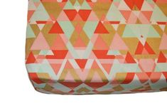 Coral gold and mint triangles crib sheet, fitted crib sheet, gold fitted crib…