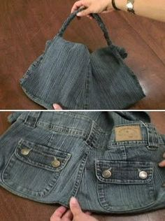 Great idea to make a purse from the butt of your old jeans. Except mine would be a duffel bag ;-p
