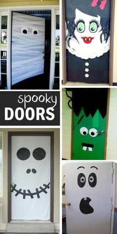 Halloween door decorating ideas - such cute Halloween decorations for doors! Halloween is coming soon and there are so many fun ways to decorate your front door - check out this list of our favorite Halloween door decorations EVER! Deco Porte Halloween, Casa Halloween, Theme Halloween, Holidays Halloween, Halloween Classroom Door, Halloween Designs, Outdoor Halloween, Class Halloween Party Ideas, Toddler Halloween Crafts