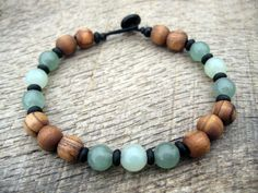 Mens surfer bracelet jade aventurine and by thehappymushroom
