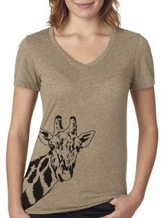 Giraffe V-neck T-shirt