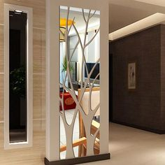 Modern mirror style removable decal tree art mural wall stickers home room decoration - Interior Design Living Room Partition Design, Room Partition Designs, Ceiling Design, Wall Design, Modern Mirror Design, Modern Mirrors, Modern Wall, Pop Design, Floor Design