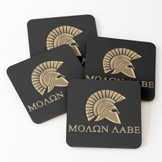 'Molon labe-Spartan Warrior' Coasters by augustinet Warrior Outfit, Spartan Warrior, Molon Labe, Coaster Set, Sell Your Art, Art Prints, Printed, Awesome, People