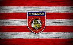 Download wallpapers Myanmar national football team, 4k, logo, AFC, football, wooden texture, soccer, Myanmar, Asia, Asian national football teams, Myanmar Football Federation