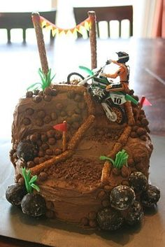 Cool homemade motocross cake motocross boy s birthday party