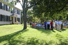 The couple used the Loring-Greenough House's landing as their altar.