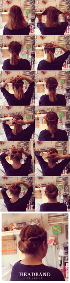 Easy Twisted Updo for medium and long Hair. #Updo #Headbandproject Hairstyle.
