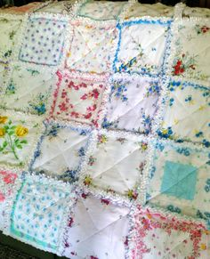 Vintage Style Hanky Handkerchief Rag Quilt IV-using the rest of hankies I have from Grandma E????