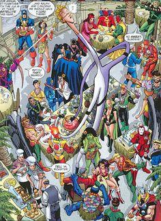 George Perez illustration from JLA/Avengers #3