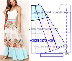 Saia Longa Verão 2017 Com Transformação Do Molde Base - Шитьё - фасон и выкройка - Saias Easy Sewing Patterns, Clothing Patterns, Dress Patterns, Sewing Projects For Beginners, Sewing Tutorials, Sewing Clothes, Diy Clothes, How To Hem Pants, Boho Outfits
