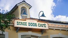 """Stage Door Café: Gallop up to this quick-service saloon for hearty vittles like hand-dipped corn dogs, fish and chips, and chicken breast nuggets. """"Fer yer sweet tooth,"""" sling a Fantasy Funnel Cake with strawberry, chocolate brownie or powdered sugar topping."""