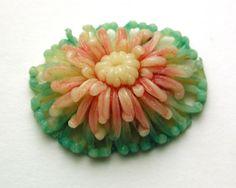 Vintage Celluloid Button Realistic Chrysanthemum Flower Back Marked | eBay