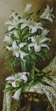 Helen Dobel (b.1963) — Lilies  (802×1600)