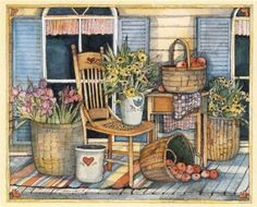 Susan Winget Decoupage Vintage, Decoupage Paper, House Painting, Painting & Drawing, Paper Art, Paper Crafts, Arte Country, Shabby Chic Cards, Country Paintings