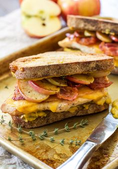 Cheddar, Bacon, Chicken, Apple Sandwiches with Honey Mustard Spread | Toasted bread with honey mustard spread, topped with chicken, melted cheddar cheese, crisp bacon and sweet sautéed apples! A savory-sweet comfort food sandwich!
