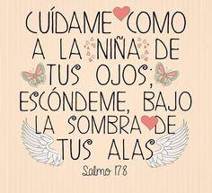 Cuídame como a la niña de tus ojos; protégeme bajo la sombra de tus alas Salmo 17:8 (DHH)
