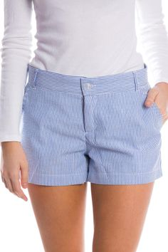 We have brought back a spring favorite in seersucker! The Seersucker Poplin Short is the perfect addition to your wardrobe! These classic flat-front shorts add a touch of prep to any outfit! Youre going to go crazy over these shorts available in three colors!  Model is wearing size X-SMALL!  55% Polyester 45% Cotton construction 3 inch inseam   Seersucker Poplin Shorts by Lauren James. Clothing - Shorts Sandestin Golf and Beach Resort Florida