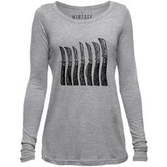 Mintage Antique Pocket Knives Womens Long-Sleeve Scoop Top