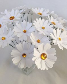 Items similar to Paper daisies. White Paper Flowers, Paper Flowers Wedding, Fabric Flowers, Paper Centerpieces, Wedding Centerpieces, Easter Flowers, Spring Flowers, Paper Daisy, Fabric Flower Tutorial