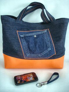 "Denim/Vinyl ""medium"" Tote bag DVO154"