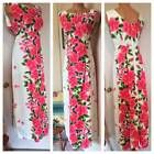 VTG UI-MAIKAI PINK HIBISCUS BARKCLOTH COTTON MAXI DRESS HAWAIIAN WEDDING SZ L
