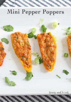 Mini Pepper Poppers | www..honeyandbirch.com #appetizer