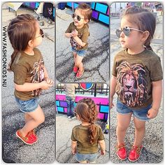 I love everything about this! The Aviators, red loafers, Rastafarian lion, and French braid faux-hawk! And the happy girl!