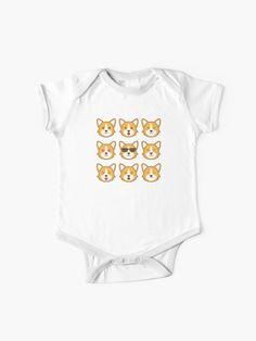"""Kawaii Corgi Pack "" Baby One-Piece by Tema01 | Redbubble Funny Baby Shirts, Funny Babies, Corgi, Onesies, One Piece, Kawaii, Cotton, Kids, T Shirt"