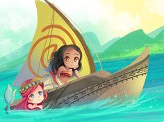 -- Colored sketch : Moana and Ariel -- by Kurama-chan