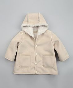 Take a look at this Cream Hooded Button-Up Jacket - Infant by Luca Charles on #zulily today!