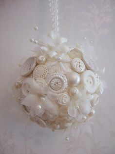 Items similar to Vintage white and ivory button pomander bridesmaid flowergirl wedding bouquet on Etsy Button Ornaments, Beaded Ornaments, Christmas Baubles, Diy Christmas Ornaments, Christmas Projects, Holiday Crafts, Vintage Christmas, Shabby Chic Ornaments, White Ornaments