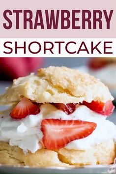 One bite of these flaky and sweet Homemade Strawberry Shortcake Biscuits, and you will fall in love. Filled with a simple whipped cream recipe and fresh strawberries, this easy shortcake recipe is heavenly! Biscuits For Strawberry Shortcake, Shortcake Recipe Easy, Shortcake Biscuits, Light Strawberry Shortcake Recipe, Strawberry Filling, Strawberry Dessert Recipes, Sweets Recipes, Pie Recipes, Yummy Recipes
