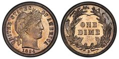 A record price for any dime was set when it took more than $2 million to acquire a rare 1894-S Barber dime, Legend Numismatics announced this week. Description from coinnews.net. I searched for this on bing.com/images