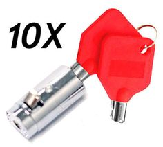 10-Pepsi Soda Machine Vending Locks and Keys with RED KEY COVERS-FREE SHIPPING
