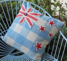 Items similar to New Zealand Flag Vintage Kiwi Wool Blanket Cushion on Etsy New Zealand Flag, New Zealand Art, Sewing Ideas, Sewing Projects, Kiwiana, Vintage Wool, Knitting Needles, Wool Blanket, Felt Crafts
