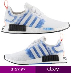 fba131bdd Adidas NMD R1 Sneaker WhiteBold Blue Mens Lifestyle Shoes Stencil Pack