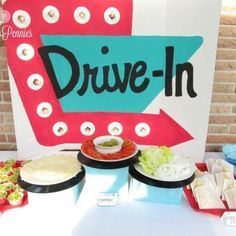 Drive In Diner Birthday Party {food themes} - Tip Junkie Maybe put as you walk through the entries or walk through doors Grease Themed Parties, 50s Theme Parties, Adult Party Themes, Party Food Themes, 30th Birthday Parties, Birthday Party Themes, Party Ideas, 60s Theme, Grease Party Themes