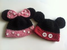 Mickey and Minnie Crochet Hats for Jack and Kinsley